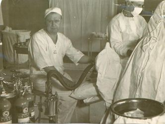 Dr. James Patrick Kinney performing early anesthesia procedure at Sisters of Charity Hospital, Buffalo, NY